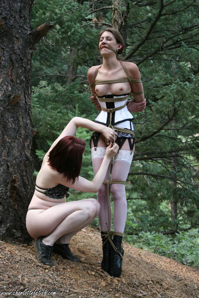 Slave tied up to bed with dog collar masturbates hard 9